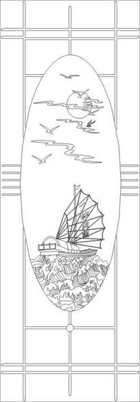 一帆风顺雕刻图案