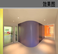 幼儿园室内走廊透视图