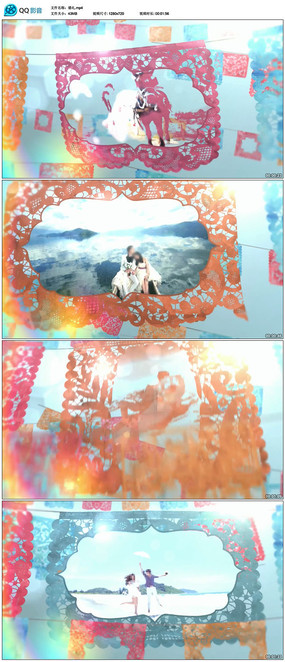 中国风剪纸婚礼视频模板