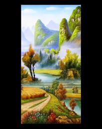 风景油画山水画装饰画玄关  PSD
