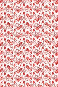 红色复古花纹雕刻图案