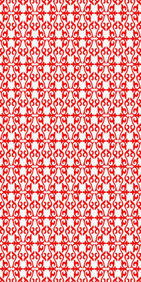 红色中国风花纹雕刻图案