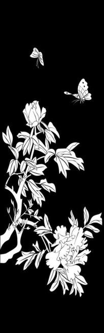 花香蝶舞雕刻图案