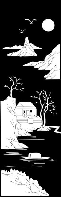 蝴边房屋雕刻图案