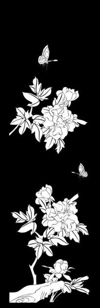 牡丹蝴蝶雕刻图案