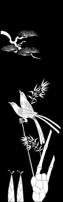 竹鸟雕刻图案 CDR