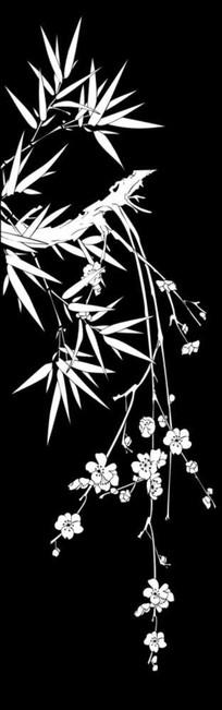 竹子梅花雕刻图案