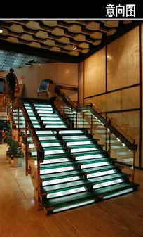 玻璃发光楼梯