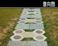 方圆形石头汀步铺装 JPG