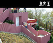 红色木头卡通楼梯