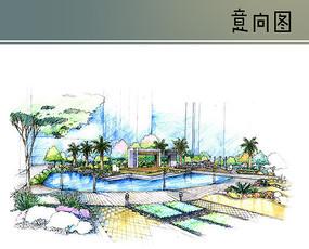 景观水池手绘效果图 JPG