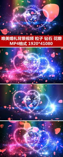 玫瑰花瓣钻石婚礼背景视频