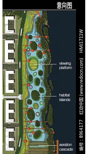 美国某滨水城市滨水公园平面图