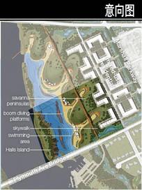 美国某滨水城市海滩平面图