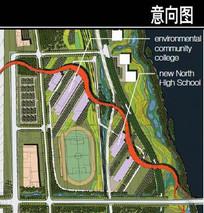 美国某滨水城市教育园区平面图
