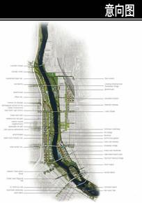 美国某滨水城市总平面图