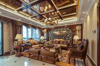 美式复古别墅客厅装修设计 JPG