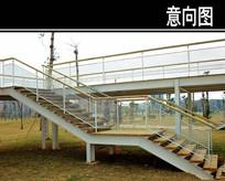 木制天桥楼梯