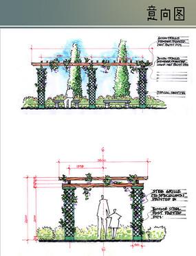 木质网格花架手绘详图