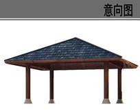 木质瓦片屋顶凉亭素材