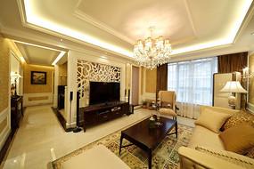 欧式别墅客厅灯光设计效果图