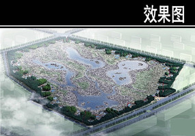 生态湿地公园景观鸟瞰图
