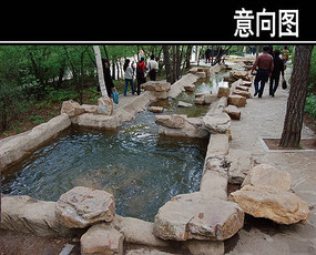 石头方形水池
