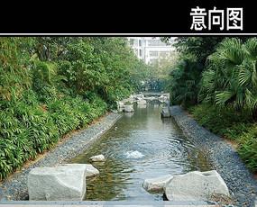石头直线浅水池