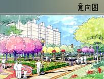 小区花坛绿化间手绘图