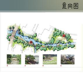 小溪水景手绘平面