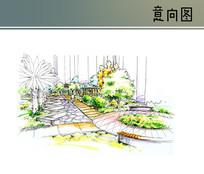 休闲绿地空间手绘透视图