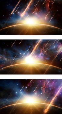 阴暗低沉世界末日陨石降落视频