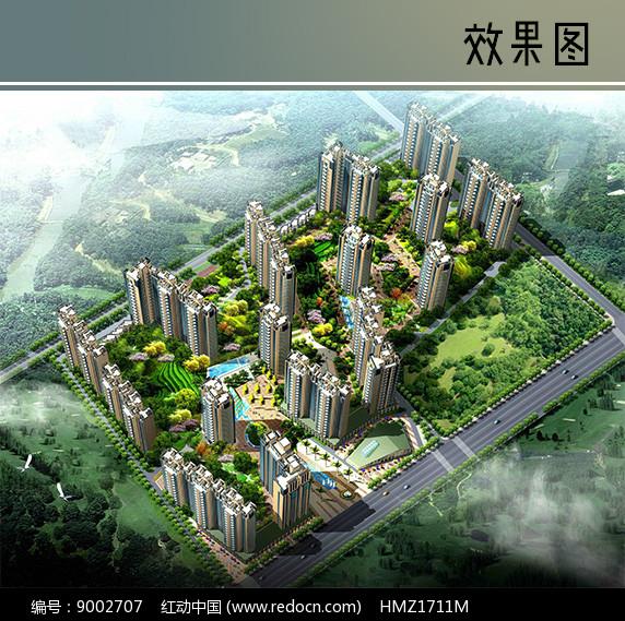 住宅高楼景观鸟瞰图图片