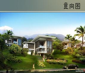 草坡上的独栋别墅向图