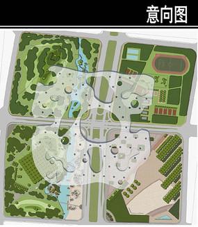 某城市大道设计中心绿地总平面