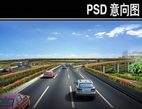 某机场立交桥透视图PSD