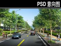 某林荫小道路段景观PSD PSD