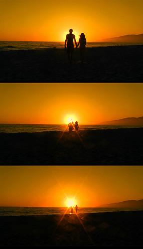 爱琴海情侣牵手漫步视频素材