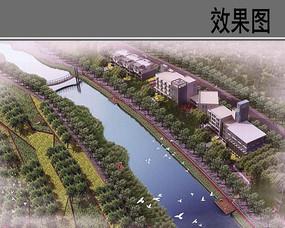 滨水生态景观设计鸟瞰图