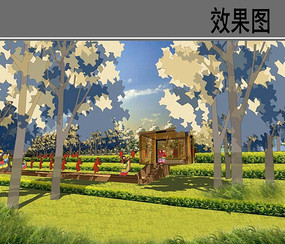 滨水生态景观设计秋季效果图