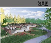 滨水主题广场鸟瞰效果图