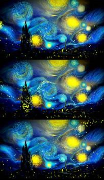 梵高油画动态星空粒子视频素材