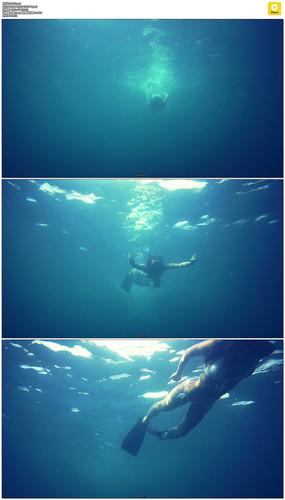 海底游泳实拍视频素材
