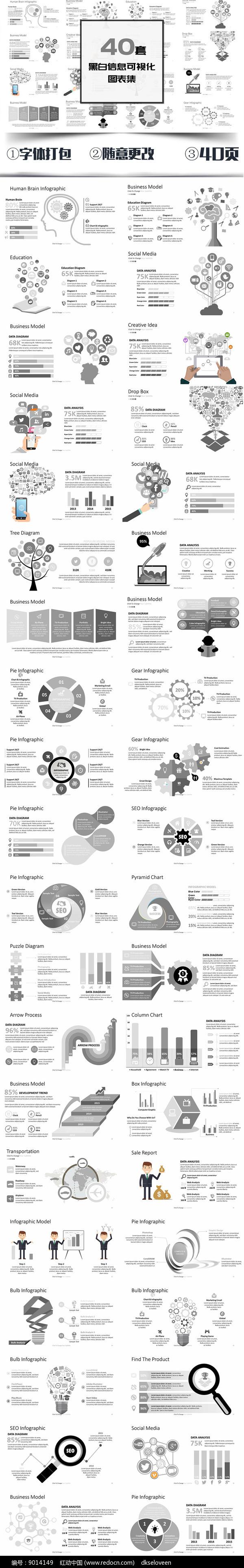 黑白信息可视化图表PPT图片