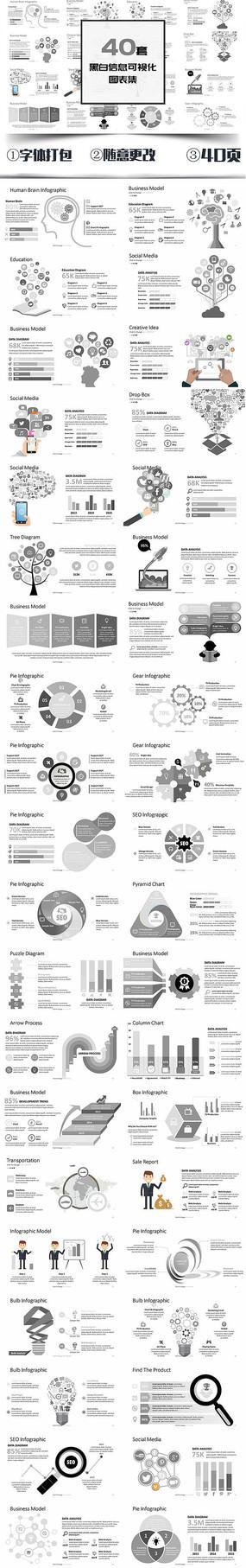 黑白信息可视化图表PPT