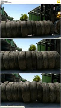 轮胎搬运实拍视频素材