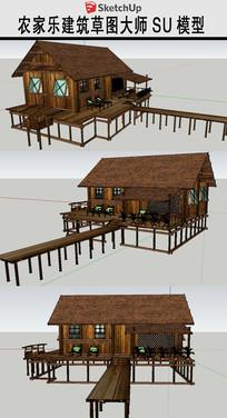 农家乐垂钓园木屋模型