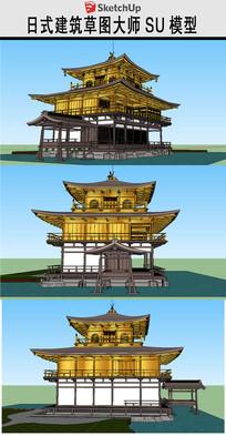 日式古建水榭干栏式建筑
