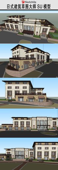 日式会所建筑SU模型
