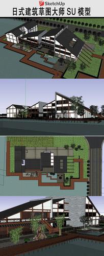 日式会所建筑设计草图模型